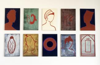 Various portraits and patterns, canvas, 140x230cm, 1990'ies